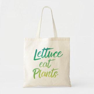 Lettuce Eat Plant Vegetarian and Vegan Humor Tote Bag
