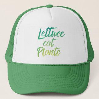 Lettuce Eat Plant Vegetarian and Vegan Humor Trucker Hat