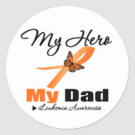 Leukaemia Ribbon My HERO My Dad Round Stickers