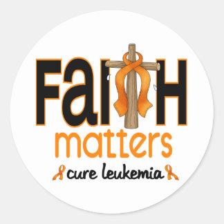Leukemia Faith Matters Cross 1 Round Sticker