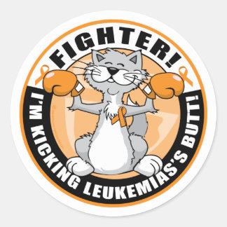 Leukemia Fighter Cat Round Sticker