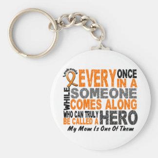 Leukemia HERO COMES ALONG 1 Mom Keychain