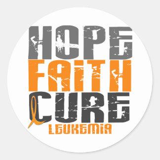 Leukemia HOPE FAITH CURE Round Sticker