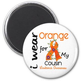 Leukemia I Wear Orange For My Cousin 43 2 Inch Round Magnet