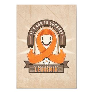 """Leukemia - Retro Charity Ribbon - Card 5"""" X 7"""" Invitation Card"""
