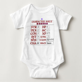 Level 1 Human Baby RPG Character Sheet Baby Bodysuit