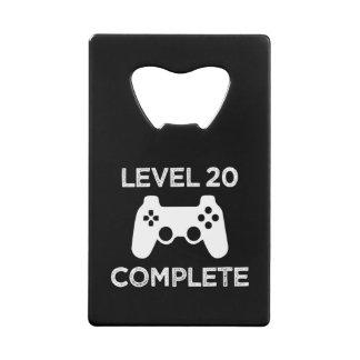 Level 20 Complete, Funny 21st Birthday beer opener Credit Card Bottle Opener