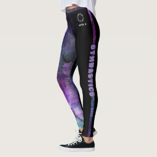 Level 9 Gymnastics Purple Abstract with strip Leggings