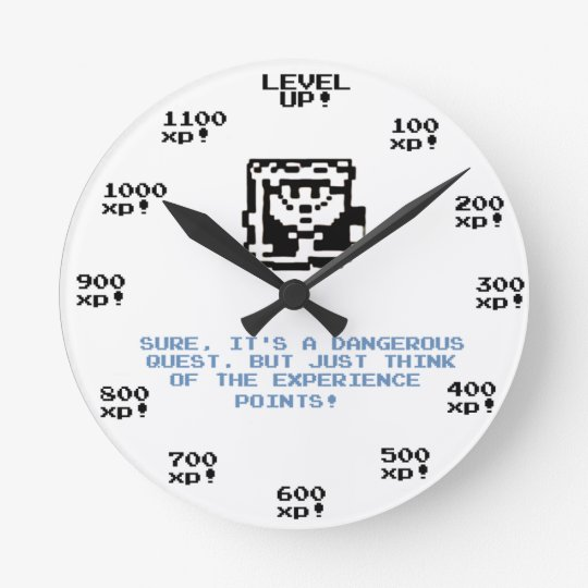"""Level up!"" retro gaming RPG clock"