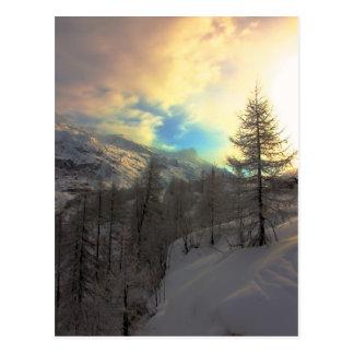 Lever de soleil alpin de Val D'Isere Cartes Postales