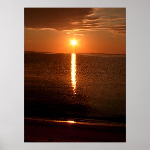 Lever de soleil du lac Huron Posters