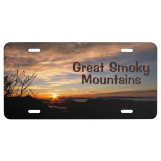 Lever de soleil glorieux de Great Smoky Mountains Plaque D'immatriculation
