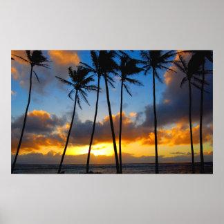 Lever de soleil hawaïen affiche