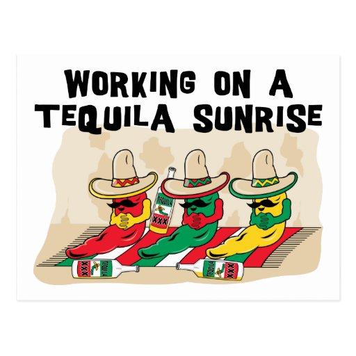 Lever de soleil mexicain drôle de tequila cartes postales