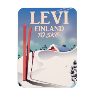 Levi, Finland ski travel poster Magnet