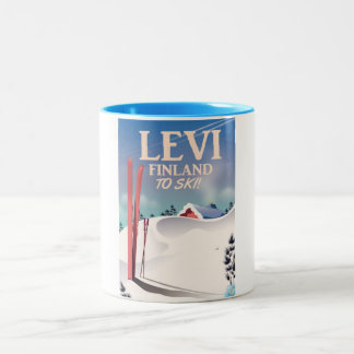 Levi, Finland ski travel poster Two-Tone Coffee Mug