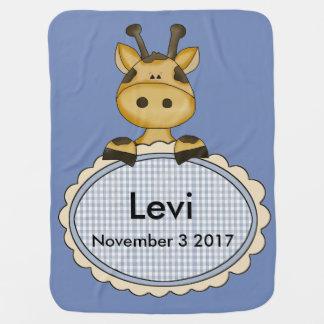 Levi's Personalized Giraffe Baby Blankets