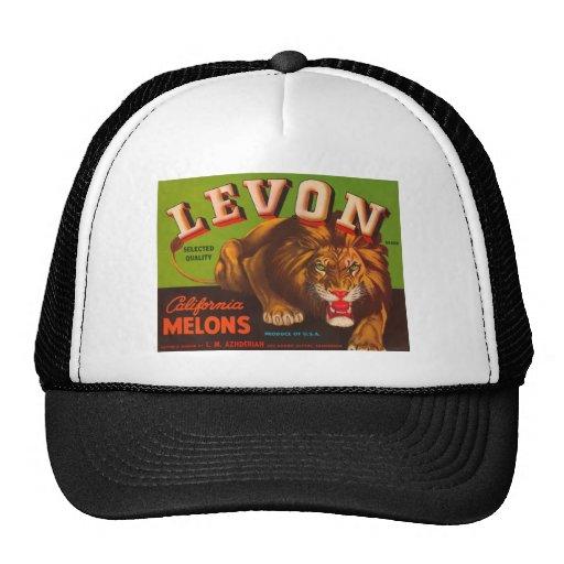 Levon Lion Melons Fruit Crate Label Hat