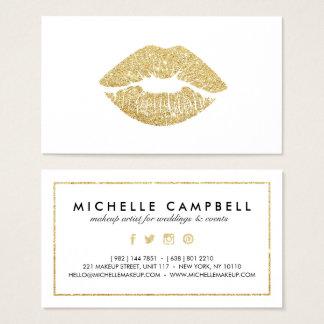 Lèvres chics d'or de scintillement de faux de cartes de visite