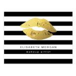 Lèvres d'or avec les rayures blanches noires - cartes postales