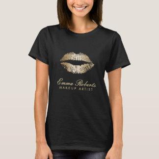 Lèvres modernes d'or de maquilleur foncées t-shirt
