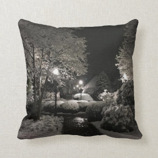 Lewes, Delaware snowfall in the park. Throw Pillow