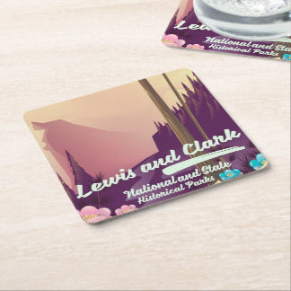 Lewis and Clark National and state park poster Square Paper Coaster