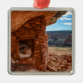 Lewis Lodge Anasazi Ruin - Cedar Mesa - Utah Silver-Colored Square Ornament