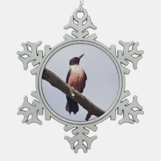 Lewis' Woodpecker Snowflake Pewter Christmas Ornament