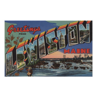 Lewiston, Maine (River Scene) Poster