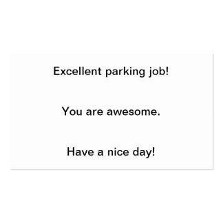 L'excellent travail de stationnement ! cartes de visite personnelles