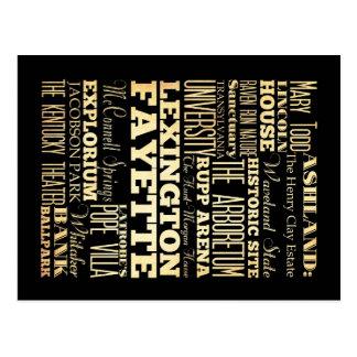 Lexington Fayette Kentucy City State Typography Postcard