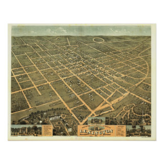 Lexington Kentucky 1871 Antique Panoramic Map Poster