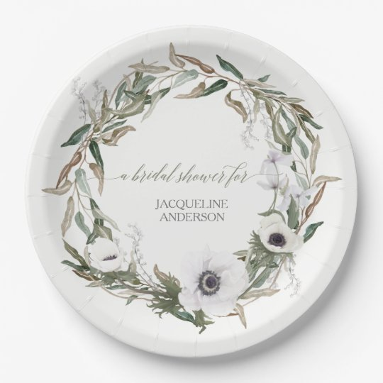 LG Size Bridal Shower Rustic Wreath Anemone Leaf Paper Plate