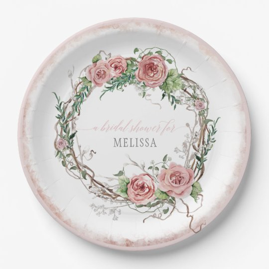 Lg Size Bridal Shower Rustic Wreath Rose Branch Paper Plate