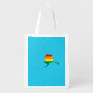 LGBT Alaska US state flag map Reusable Grocery Bag
