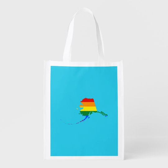 LGBT Alaska US state flag map Reusable Grocery Bag