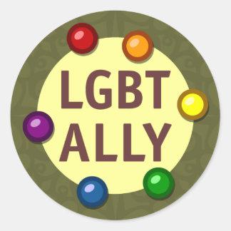 LGBT Ally Baubles Round Sticker