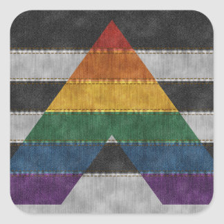 LGBT Ally Denim Flag Square Sticker
