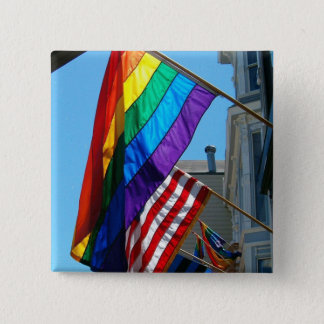 LGBT and American Rainbow Flags  Button