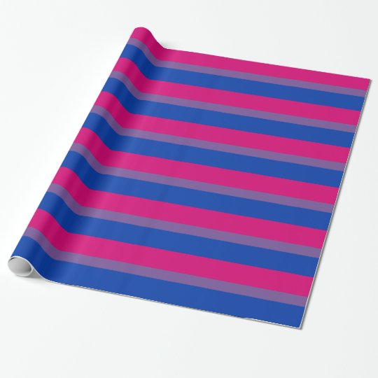 LGBT Bisexual Flag Colours Thin Stripe Wrapping Paper
