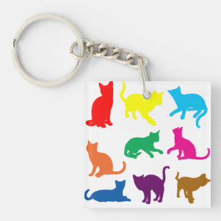 LGBT Cats Double-Sided Square Acrylic Keychain