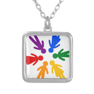 lgbt circle silver plated necklace