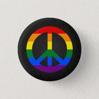 LGBT flag peace sign black button