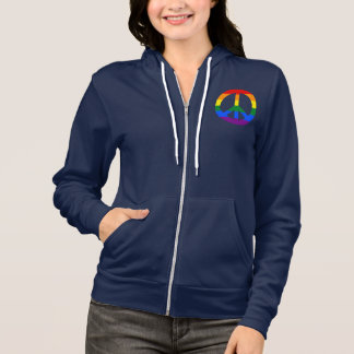 LGBT flag peace sign Hoodie