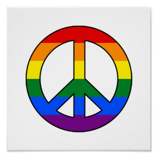 LGBT flag peace sign poster