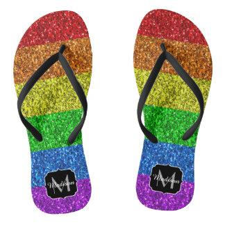 LGBT flag vibrant sparkles Monogram Flip Flops