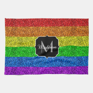 LGBT flag vibrant sparkles Monogram Kitchen Towel