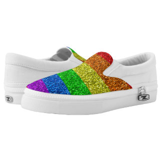 LGBT flag vibrant sparkles Slip-On Sneakers