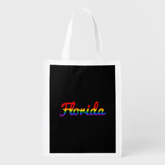 LGBT Florida Rainbow text Reusable Grocery Bag